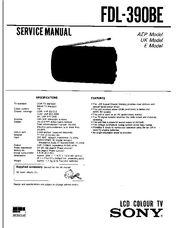 Sony TV Service Manuals and Schematics — repair
