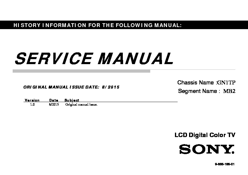 Sony KDL-32R300C Service Manual — View online or Download