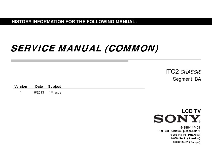 Sony KDL-32R435A, KDL-40R485A, KDL-46R485A Service Manual