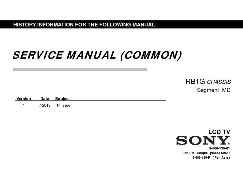 Sony KDL-42W850A, KDL-47W850A, KDL-55W850A Service Manual