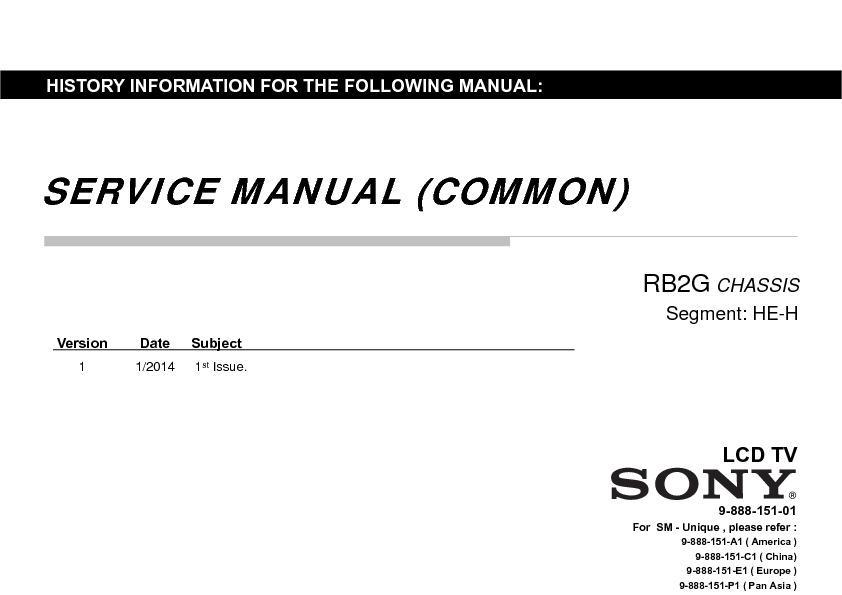 Sony KDL-60W855B, KDL-70W855B Service Manual — View online