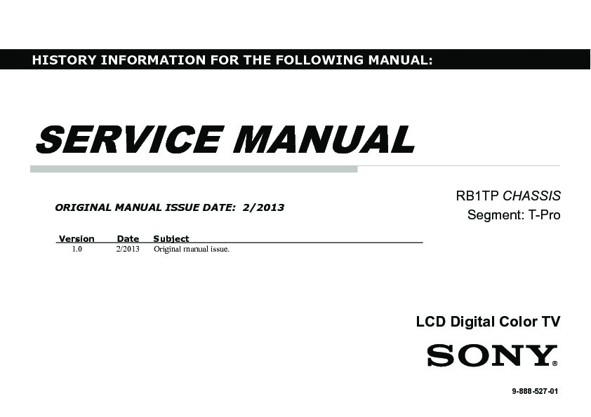 Sony KLV-32R300A Service Manual — View online or Download