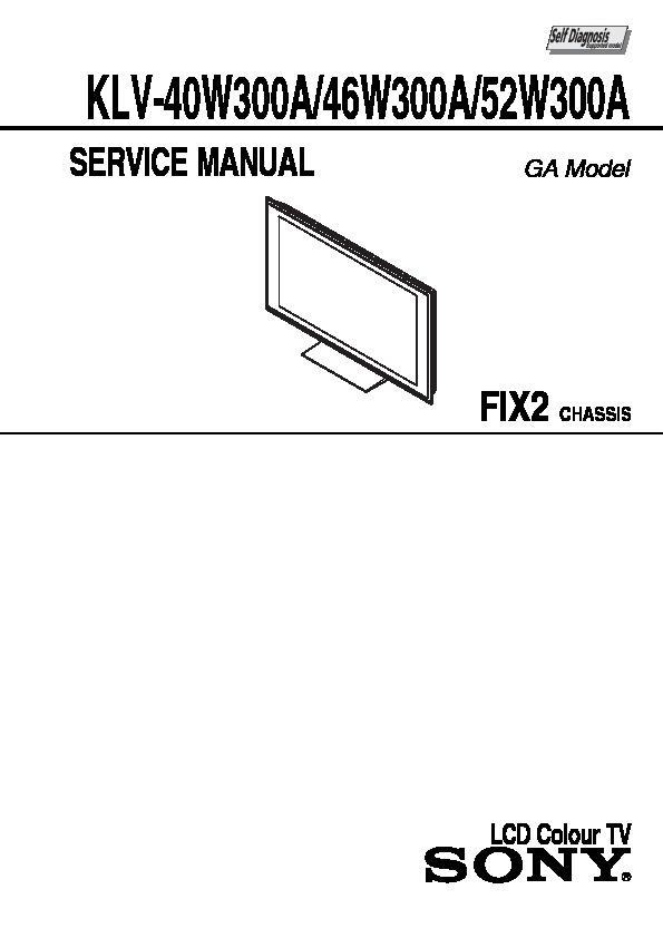 Sony KLV-40W300A, KLV-46W300A, KLV-52W300A Service Manual