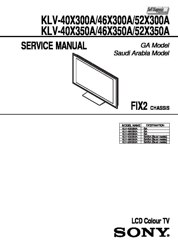 Sony KLV-46X350A, KLV-52X350A Service Manual — View online