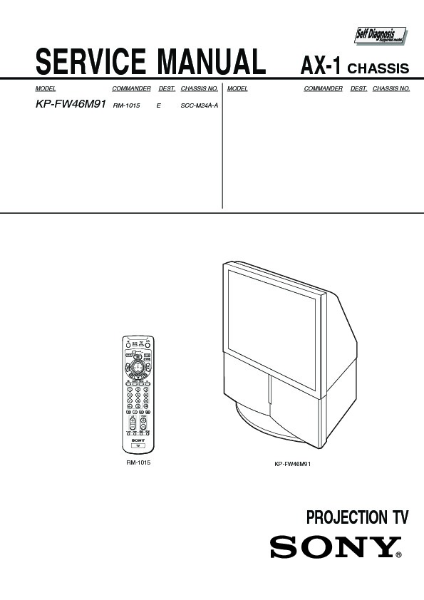 Sony KP-FW46M91 Service Manual — View online or Download