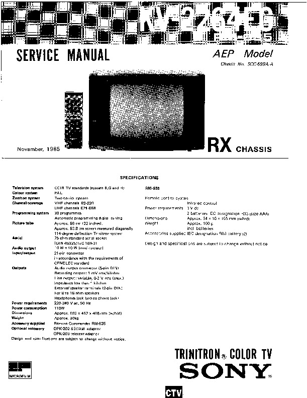 Sony KV-2264EC Service Manual — View online or Download