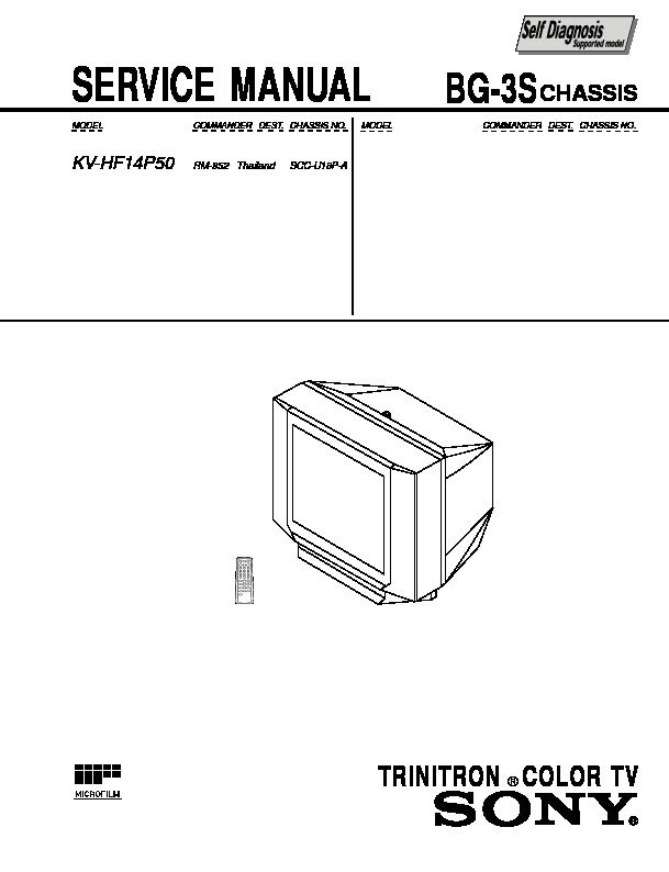 Sony KV-HF14P50 Service Manual — View online or Download