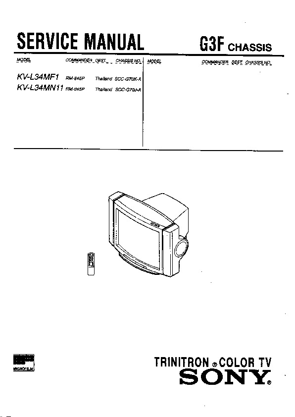 Sony KV-L34MF1 (SERV.MAN7) Service Manual — View online or
