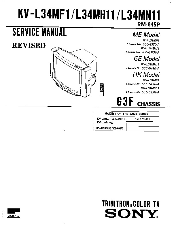 Sony KV-L34MF1 Service Manual — View online or Download