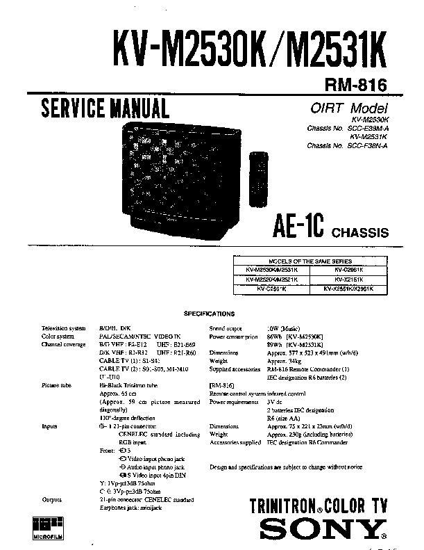 Sony KV-M2530K Service Manual — View online or Download