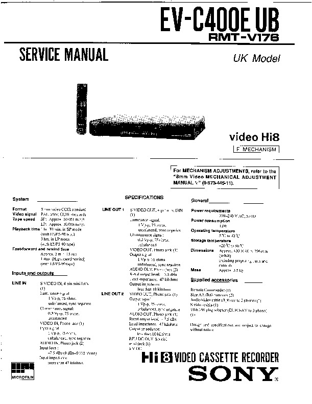 Sony EV-C400E Service Manual — View online or Download