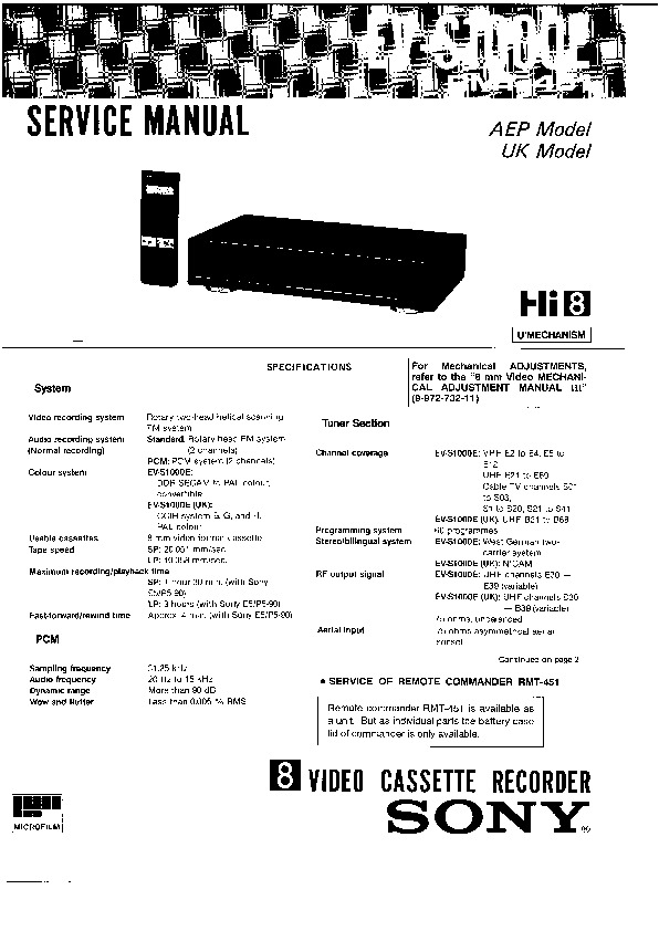 Sony VCR Service Manuals and Schematics — repair