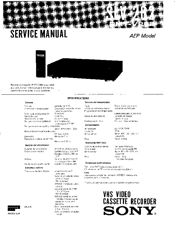 Sony SLV-262 Service Manual — View online or Download