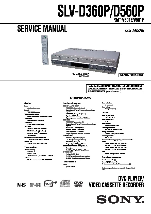 Sony SLV-D360P, SLV-D560P Service Manual — View online or