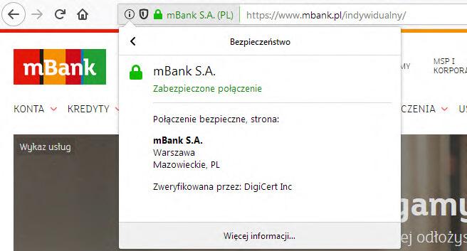 mBank przykład zabezpieczenia ssl transakcji finansowych przy zakupach w internecie