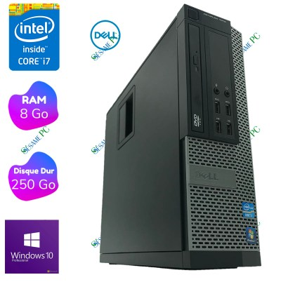 PC Bureau - DELL Optiplex 7010 i7 - 8 Go RAM- 250 Go HDD - Windows 10