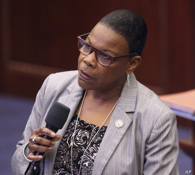 Sen. Audrey Gibson, D-Jacksonville, debates on a bill to allow teachers to be armed during session Wednesday April 17, 2019, in Tallahassee, Fla. (AP Photo/Steve Cannon)