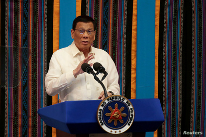 Philippine President Rodrigo Duterte speaks during his fourth State of the Nation Address at the Philippine Congress in Quezon City, Metro Manila, July 22, 2019.