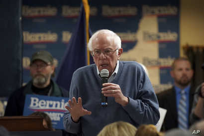 Democratic presidential candidate Sen. Bernie Sanders, I-Vt., speaks during a campaign stop, Sunday, Nov. 24, 2019, in…