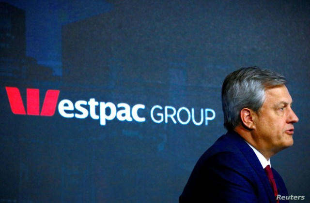 FILE PHOTO: Australia's Westpac Banking Corp's Chief Executive Officer (CEO) Brian Hartzer speaks during a media conference in…