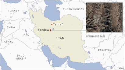 Map of Fordow Iran