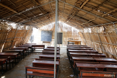 Desks and blackboards are seen inside a Unicef-funded school at Bakassi camp, Borno, Nigeria, July 18, 2017.