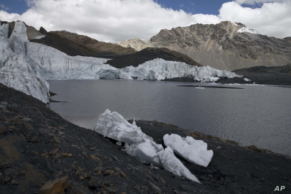 The retreating ice of the Pastoruri glacier is seen in the Huascaran National Park in Huaraz, Peru, Aug. 12, 2016. The melting o