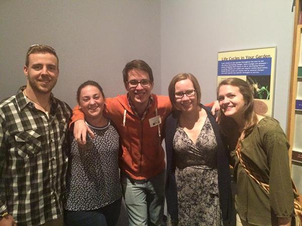 2015 Biology reception. L to R: Chris, Lauren, Jerald, Emily, Sally