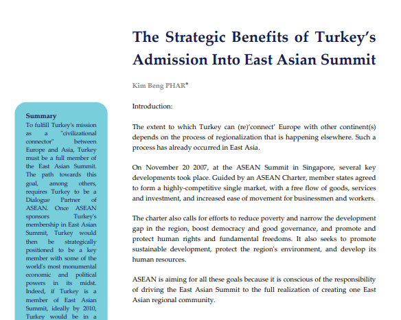 The Strategic Benefits of Turkey's Admission Into East Asian Summit