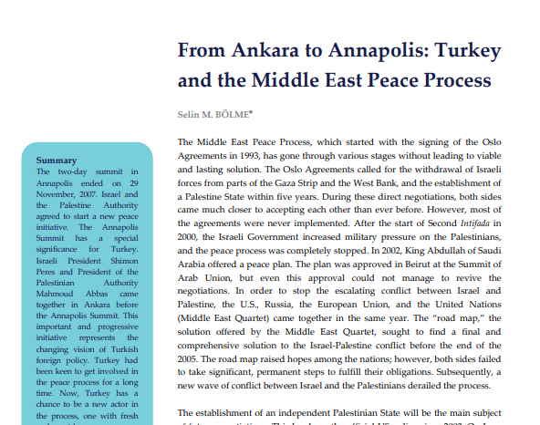 From Ankara to Annapolis: Turkey and the Middle East Peace Process