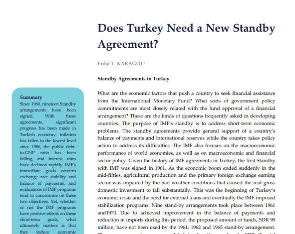 Does Turkey Need a New Standby Agreement?