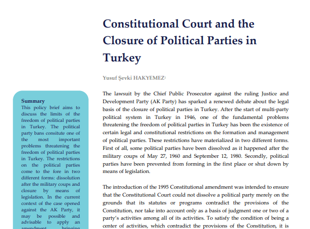 Constitutional Court and the Closure of Political Parties in Turkey