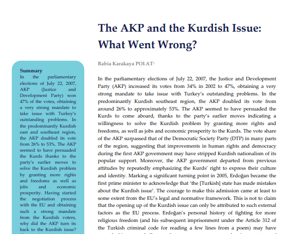 The AKP and the Kurdish Issue: What Went Wrong?