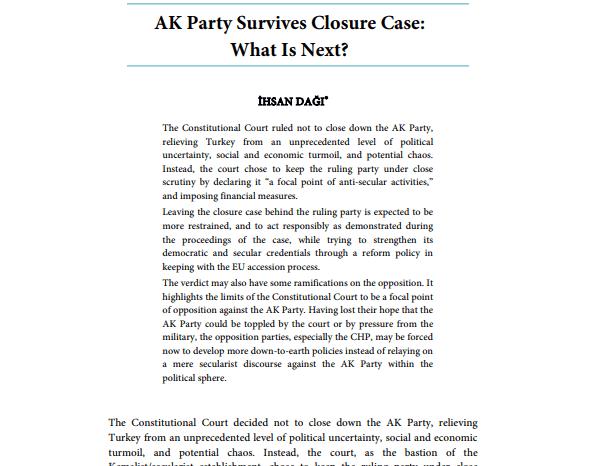 AK Party Survives Closure Case: What is Next?