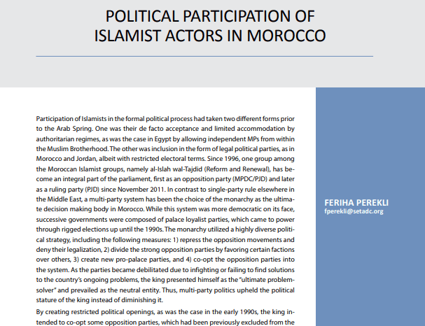 Political Participation of Islamist Actors in Morocco