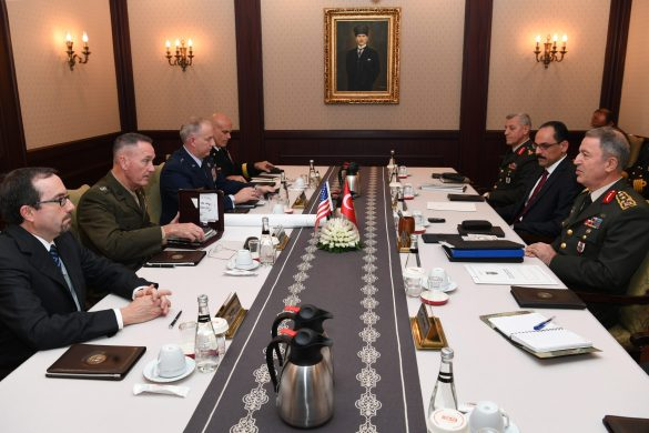 ANKARA, TURKEY - NOVEMBER 06: Chairman of the Joint Chiefs General Joseph Dunford (left 2) and Chief of the General Staff of the Turkish Armed Forces, Hulusi Akar (right) are seen during their meeting at the Turkish General Staff headquarters in Ankara, Turkey on November 06, 2016. ( Turkish General Staff  - Anadolu Agency )