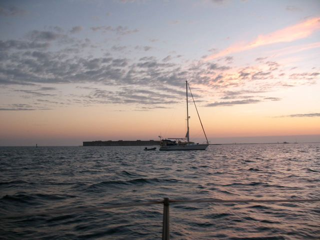 View of Fort Jefferson from first night's anchorage