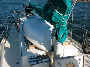 Fitting the hard dinghy on Sirocco's cabin top