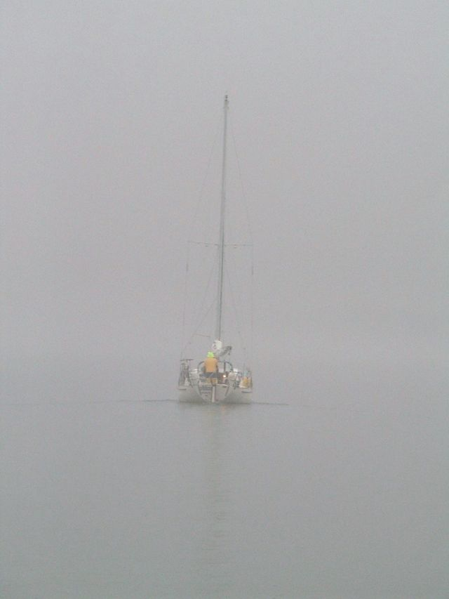 A foggy day in mid November on Long Island Sound