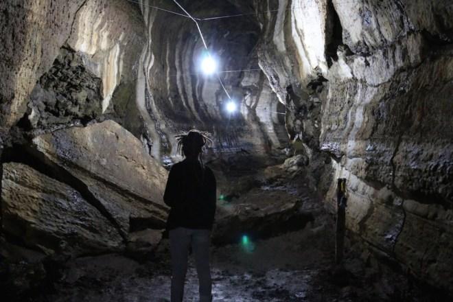 Inside a lava tunnel