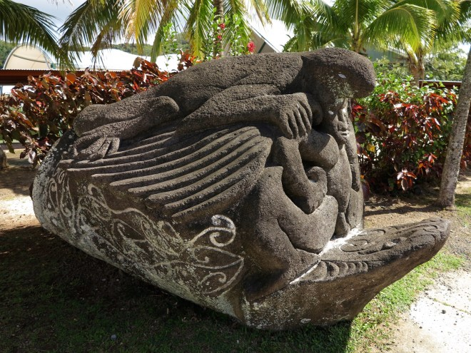Sculpture outside the National Auditorium. Avarua, Rarotonga