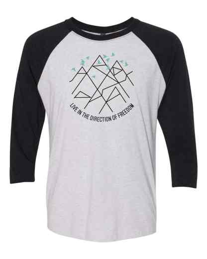 set free movement baseball tee front bydfault