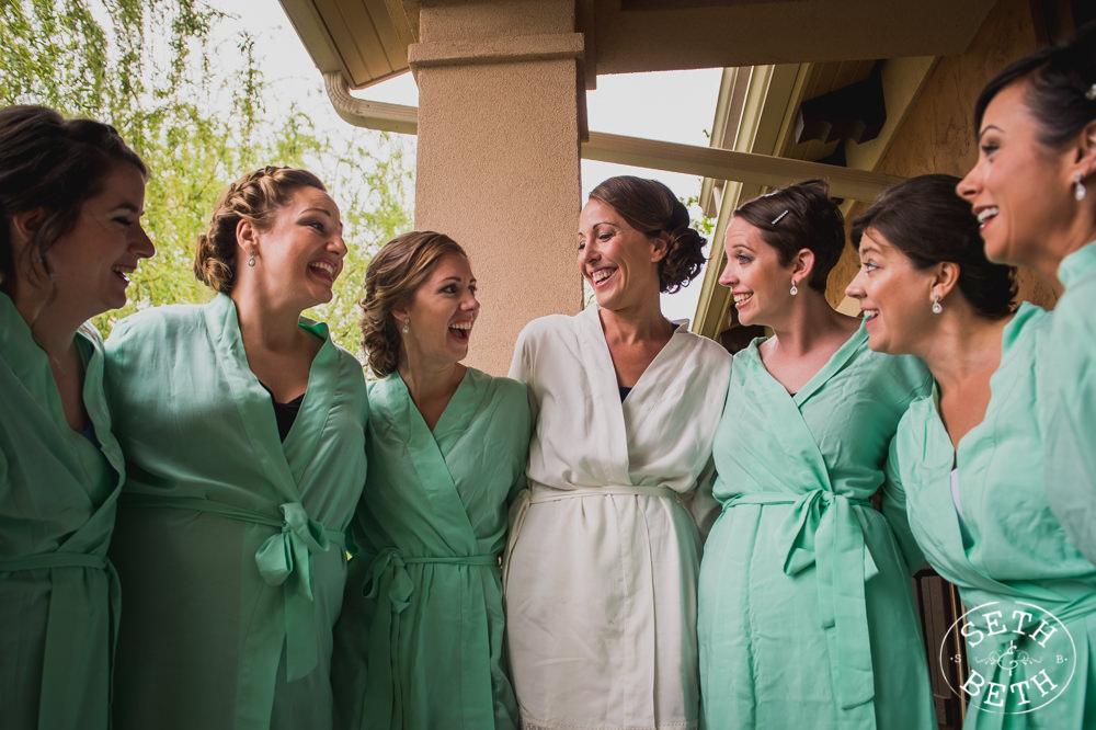 Brides smiling in a villa at a Gervasi Vineyard Wedding