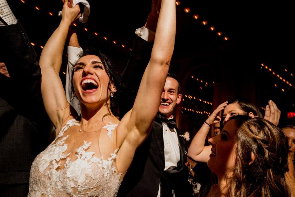 happy bride at columbus ohio westin wedding