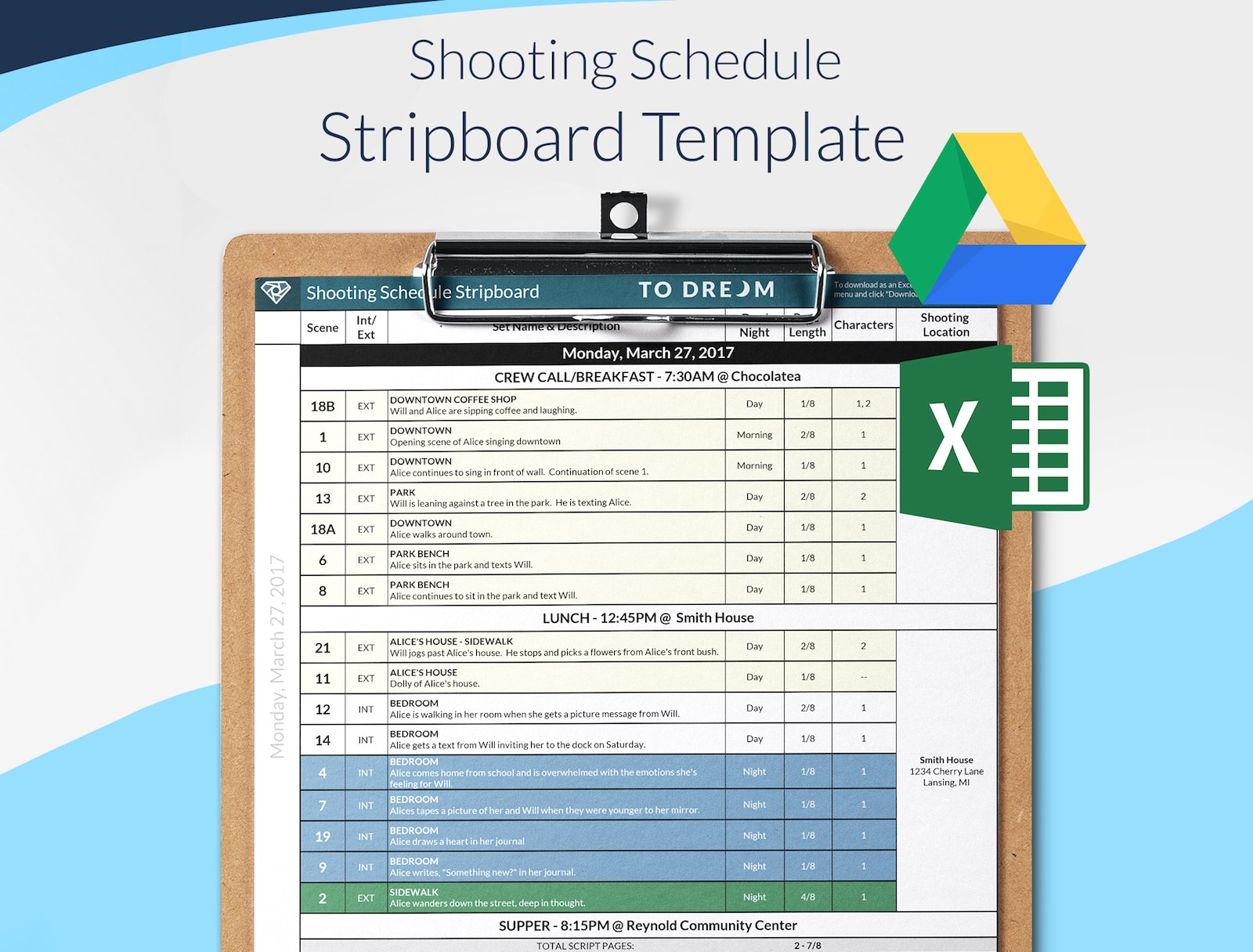 Film Stripboard Schedule / One-Liner Template Preview