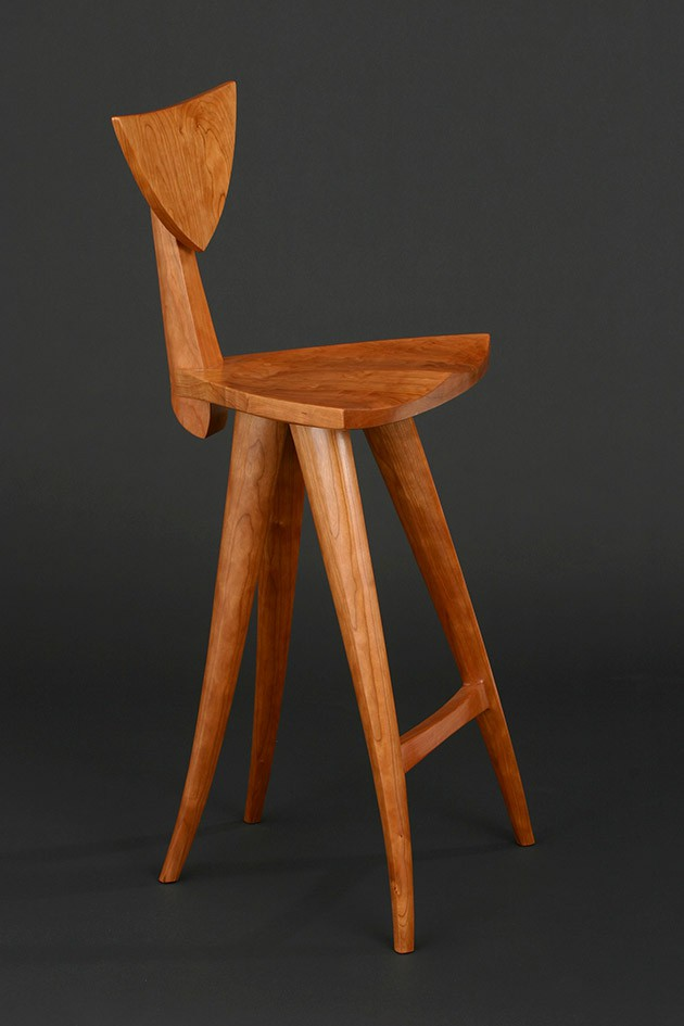 wood stool chair design slipcovers for parson chairs finback bar custom solid seth rolland curved sculpted barstool hand carved by furniture comfortable barstools