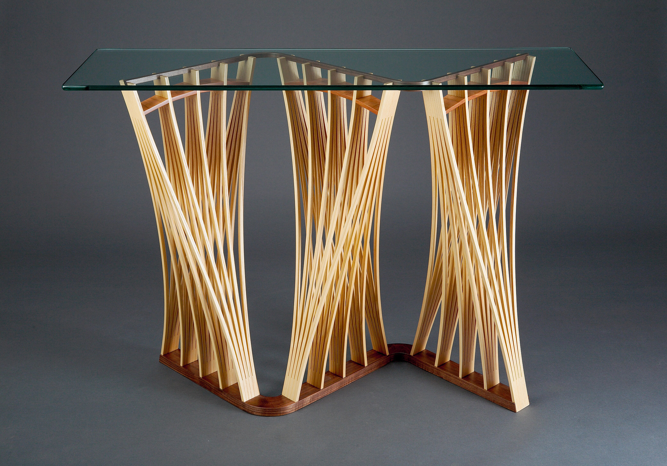 Parabola Hall Table  Solid Wood Hall  Console Table