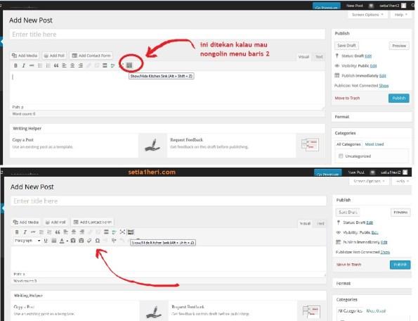 dashboard postingan wordpress