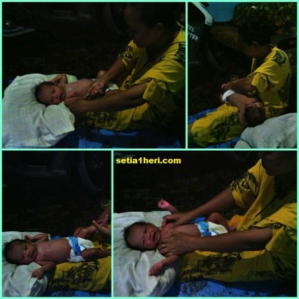 Syifa sedang pijat bayi