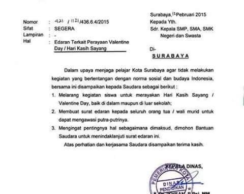 Surat Edaran Dinas Pendidikan Kota Surabaya Terkait Larangan